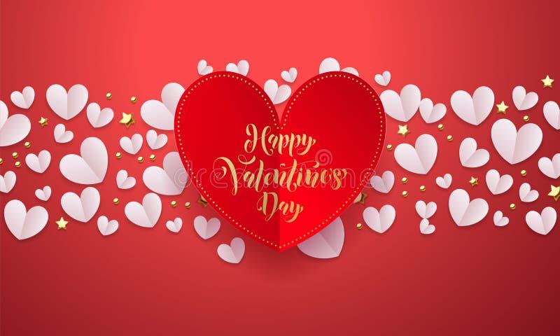 El fondo de las tarjetas del día de San Valentín del vector con el papel rojo romántico cortó el modelo del corazón con el día de stock de ilustración