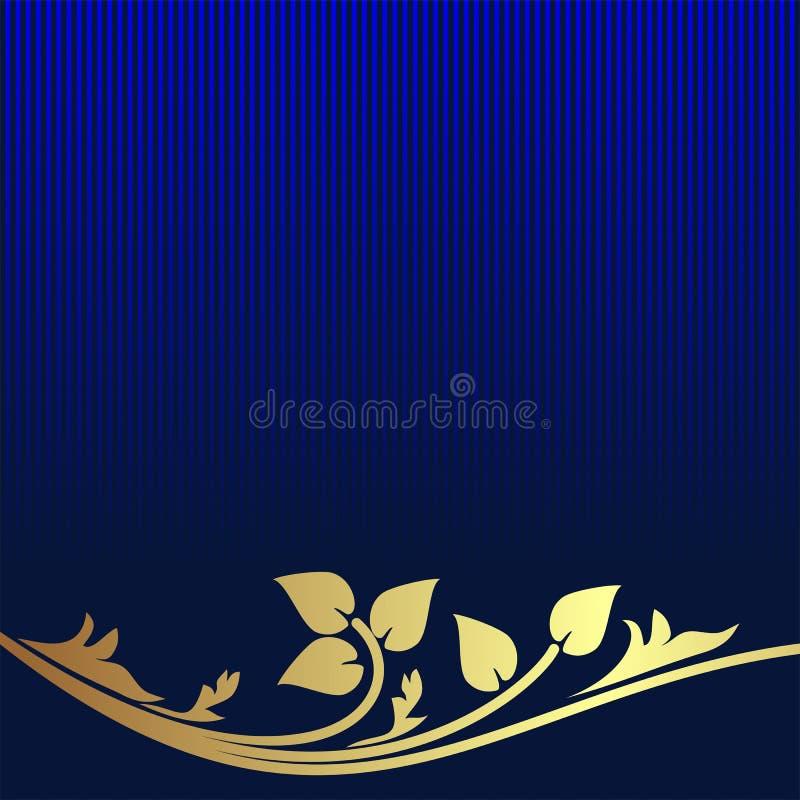 El fondo de los azules marinos adornó la frontera floral de oro stock de ilustración