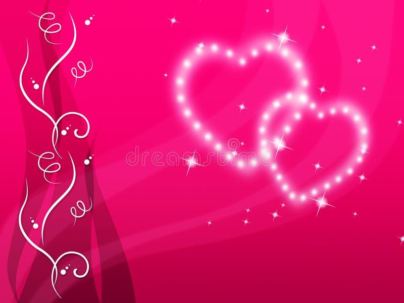 El fondo de los corazones significa a la familia del amor y floral rosados libre illustration
