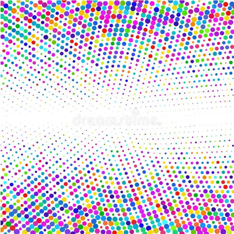 El fondo de los pixeles coloreados de diversos tamaños en un círculo en un blanco libre illustration