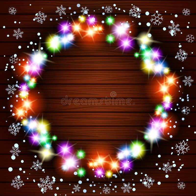 El fondo de madera con las guirnaldas del vintage, vector EPS10, luces de la Navidad muestra ilustración del vector