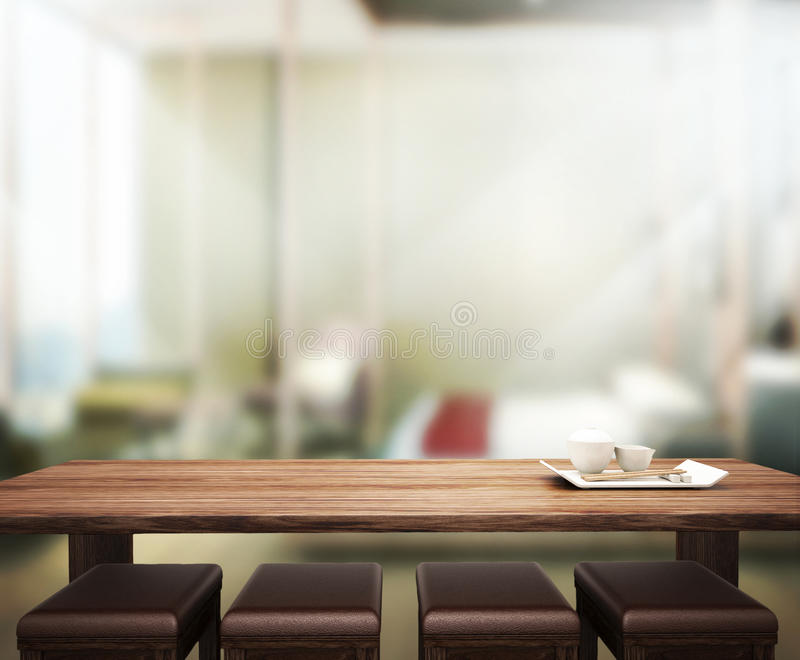 El fondo de madera de la sobremesa en el dormitorio 3d rinde fotografía de archivo libre de regalías