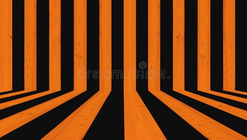 El fondo de madera de la textura, raya negro y anaranjado para el fondo de Halloween fotografía de archivo