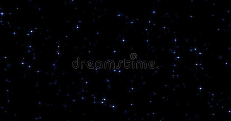 El fondo de neón azul del brillo de las partículas con el bokeh ligero del resplandor y el polvo brillante encienden efecto mágic fotos de archivo libres de regalías