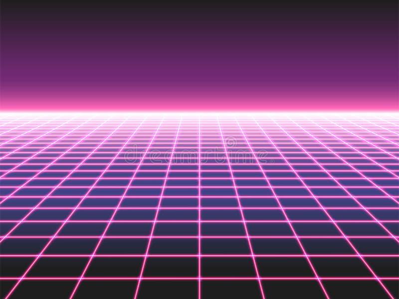 El fondo de neón futurista retro de la rejilla, perspectiva del diseño 80s torció el paisaje plano integrado por luces de neón o  libre illustration