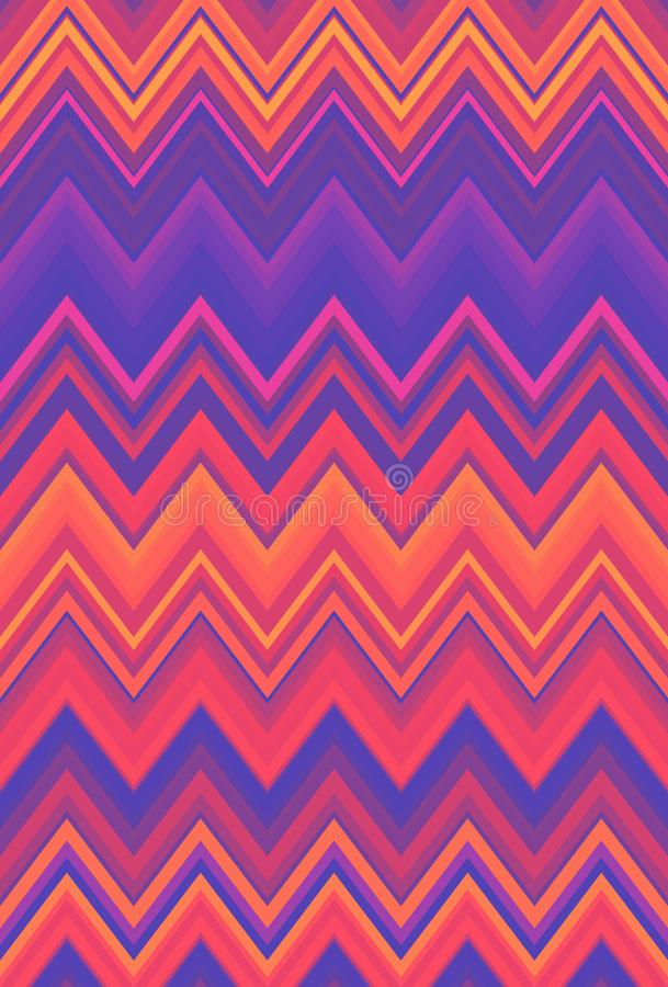 El fondo de neón ultravioleta del extracto del modelo de zigzag de Chevron, el color púrpura ultravioleta tiende stock de ilustración
