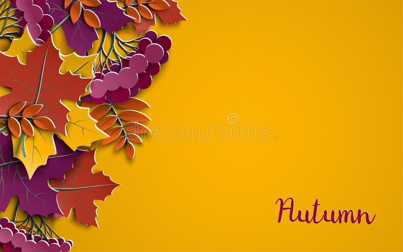 El fondo de papel floral del otoño con el árbol colorido se va en el fondo amarillo, elementos del diseño para la bandera de la t stock de ilustración