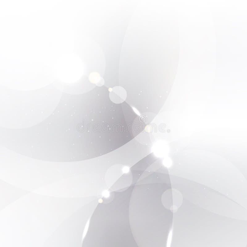 El fondo de plata abstracto con los círculos blancos y grises cubrió a ilustración del vector