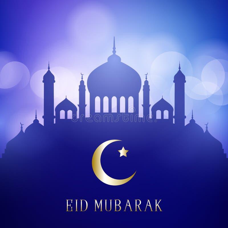 El fondo decorativo de Eid Mubarak con las siluetas de la mezquita en luces de un bokeh diseña stock de ilustración