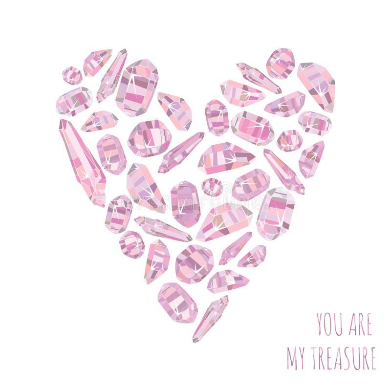 El fondo del amor y le carda es mi tesoro con el corazón hecho de cristales rosados stock de ilustración
