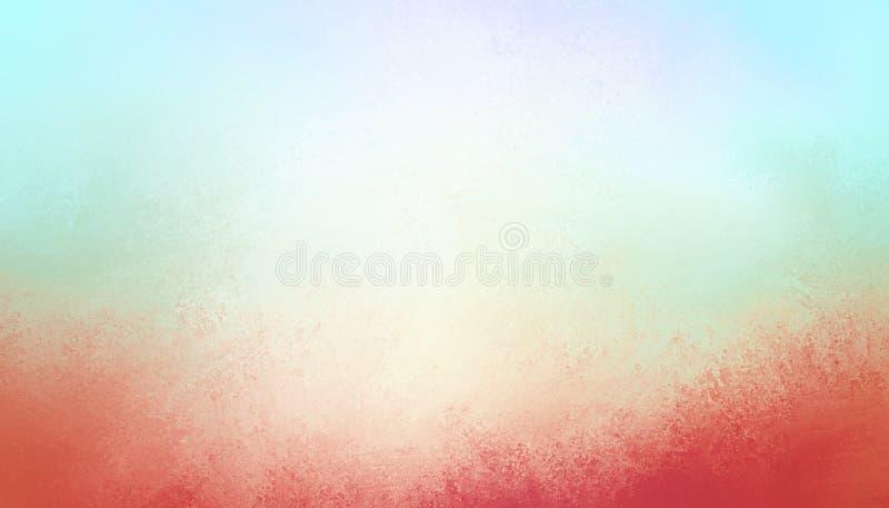 El fondo del azul de cielo con grunge texturizó la frontera roja en diseño abstracto del vintage fotos de archivo libres de regalías