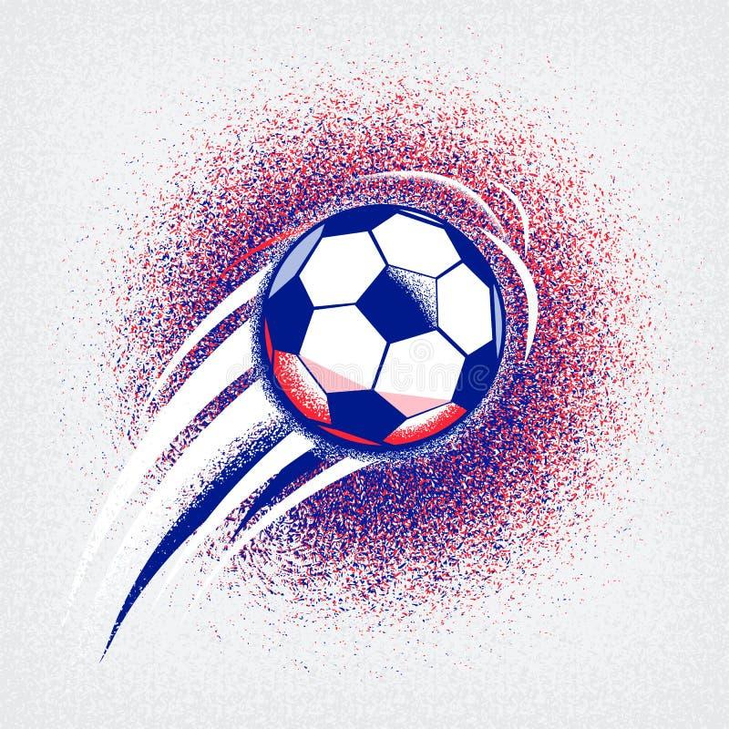 El fondo 2016 del campeonato del fútbol del euro con la bola y Francia señalan colores por medio de una bandera Textura de la asp ilustración del vector