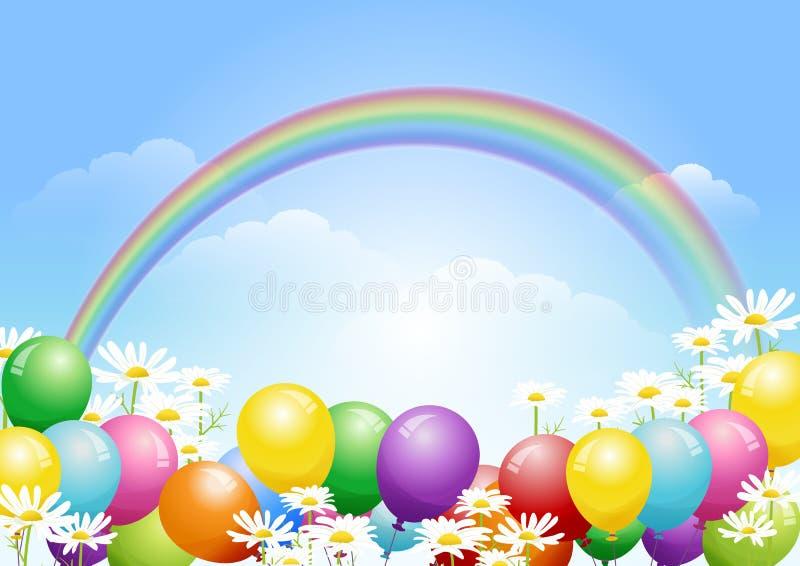 El fondo del cielo azul con los globos y la margarita florece libre illustration