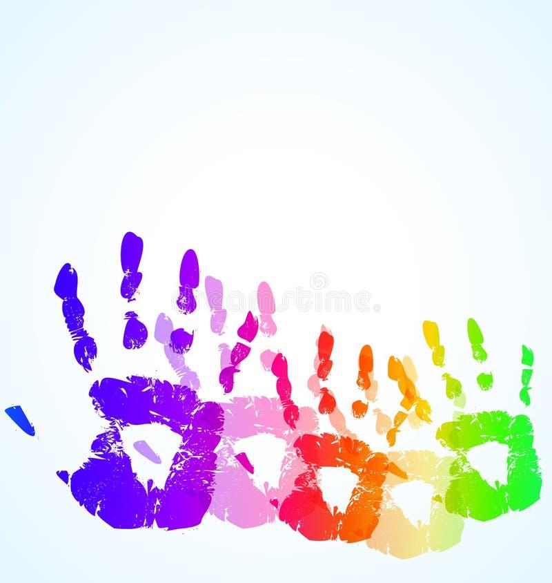 El fondo del color del extracto de la impresión de la mano libre illustration