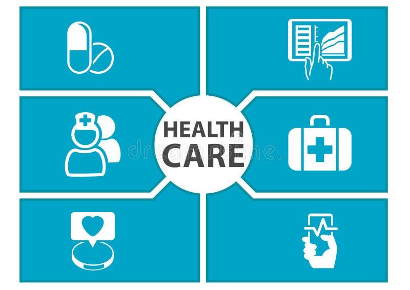 el fondo del cuidado de la E-salud con símbolos de dispositivos modernos le gusta el teléfono elegante, tableta, informe médico d ilustración del vector