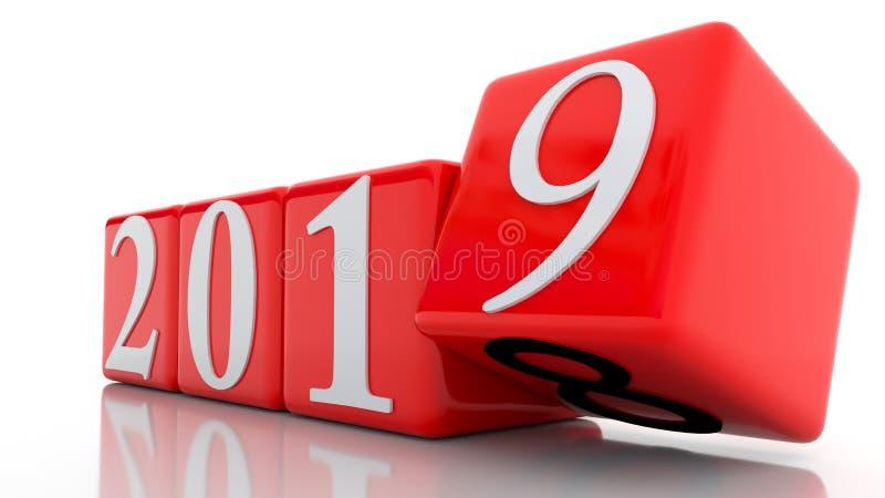 el fondo del día de año nuevo de 2019 cambios corta los números en cuadritos blancos rojos - representación 3d stock de ilustración