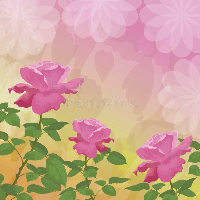 El fondo del día de fiesta con la flor subió ilustración del vector