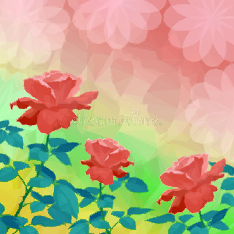 El fondo del día de fiesta con la flor subió stock de ilustración