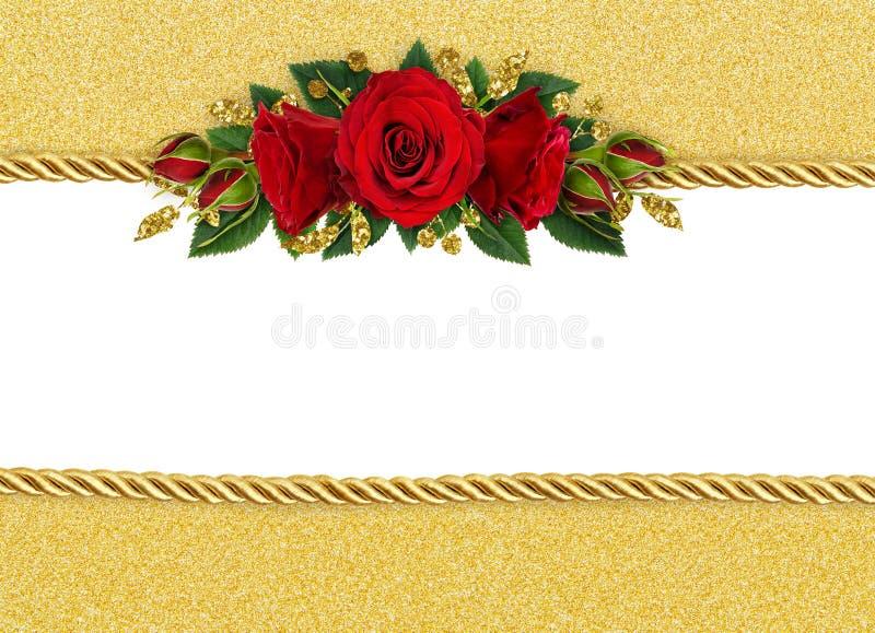 El fondo del día de fiesta con la rosa del rojo florece la decoración y r de oro stock de ilustración
