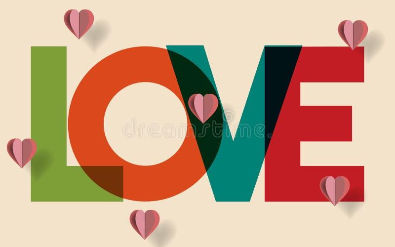 El fondo del día de tarjetas del día de San Valentín con los corazones rosados de papel adornados realistas y coloridos felices m stock de ilustración