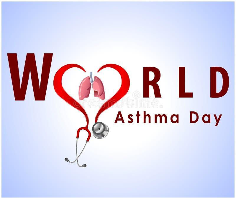 El fondo del día del asma del mundo con los pulmones y el texto elegante en fondo azul vector EPS 10 stock de ilustración