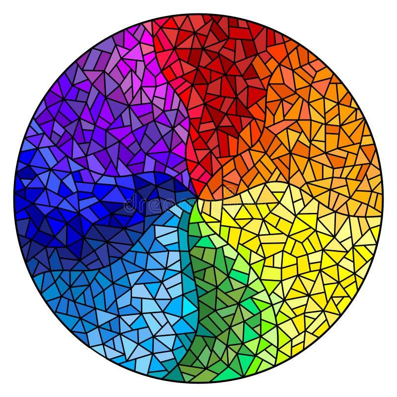 El fondo del ejemplo del vitral, los elementos coloreados arregló en el espectro del arco iris, imagen redonda ilustración del vector