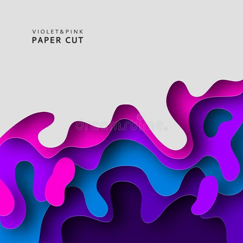 El fondo del extracto del corte 3D del papel con el papel cortó formas Modelo del diseño Fondo acodado de la onda del túnel Fondo libre illustration