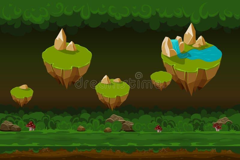 El fondo del juego del bosque de la noche, historieta inconsútil ajardina con las islas de la roca ilustración del vector