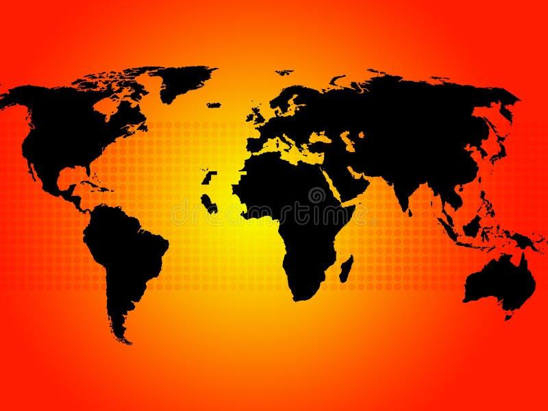 El fondo del mapa del mundo muestra continentes y países ilustración del vector