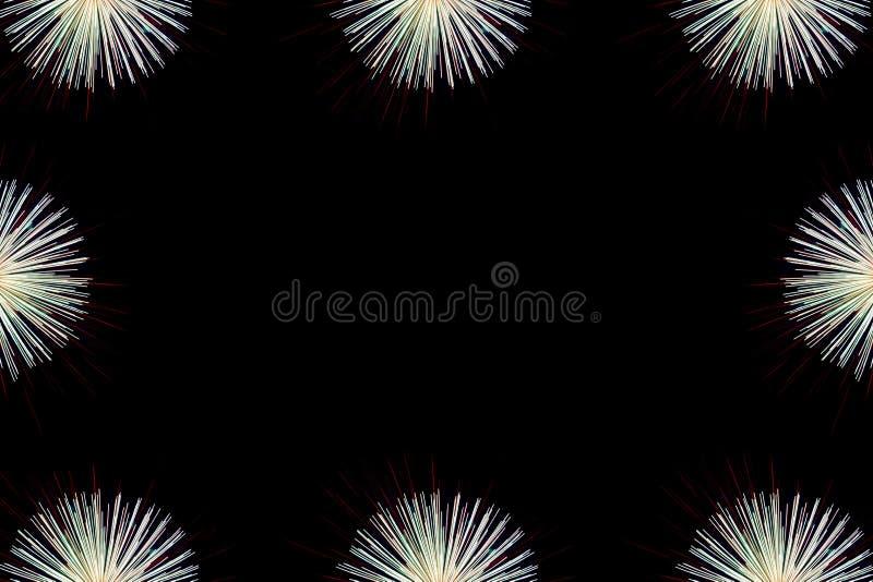 El fondo del marco de los fuegos artificiales, los fuegos artificiales coloridos se enciende en el cielo foto de archivo