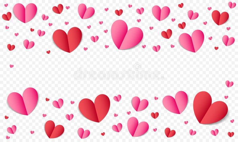 El fondo del modelo de los corazones para el día de tarjetas del día de San Valentín o el romance de la boda y ahorra la plantill ilustración del vector