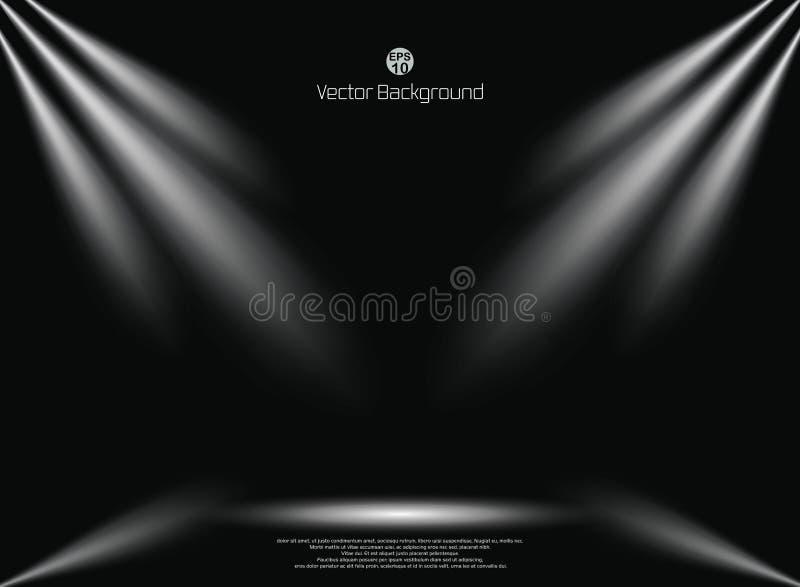 El fondo del negro oscuro con el contexto del negocio del proyector de la iluminación, imita encima de la plantilla para la exhib libre illustration