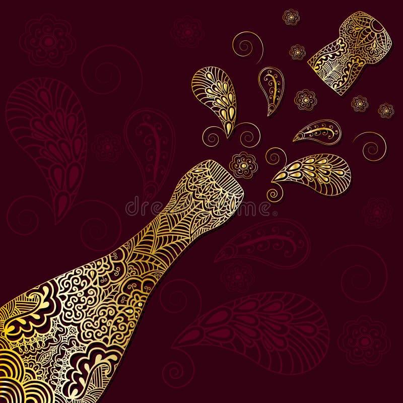 El fondo del saludo con oro modeló la botella del champán con el corcho emitido Ornamento en estilo étnico con el motivo indio de ilustración del vector