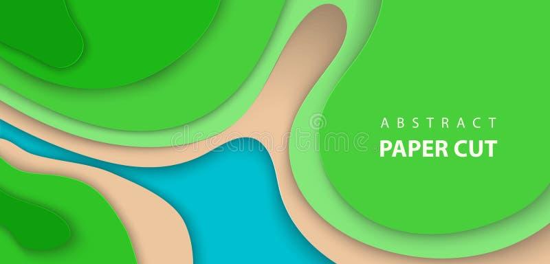 El fondo del vector con el papel de color azul y verde cortó formas de ondas estilo de papel abstracto del arte 3D stock de ilustración