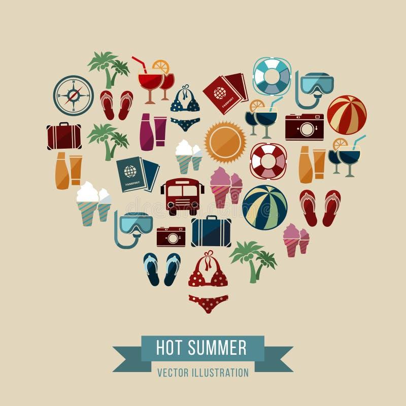 El fondo del vector del verano con los iconos planos de la playa y de las vacaciones en corazón forma libre illustration