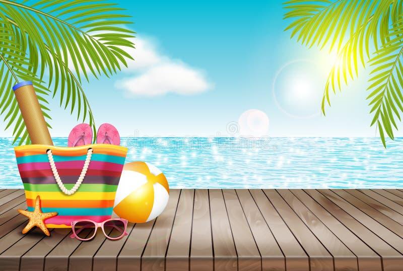 El fondo del verano con la tabla de madera y la playa empaquetan Ilustración del vector ilustración del vector