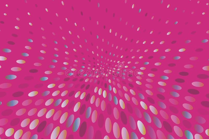 El fondo dinámico brillante con los puntos que remolinan, óvalos le gusta confeti Ilustración del vector Estilo moderno, minimali ilustración del vector