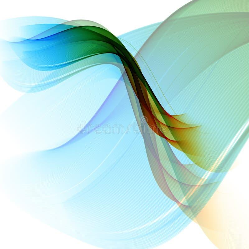 El fondo, el azul y el verde abstractos del vector agitaron las líneas para el folleto, sitio web, diseño del aviador stock de ilustración