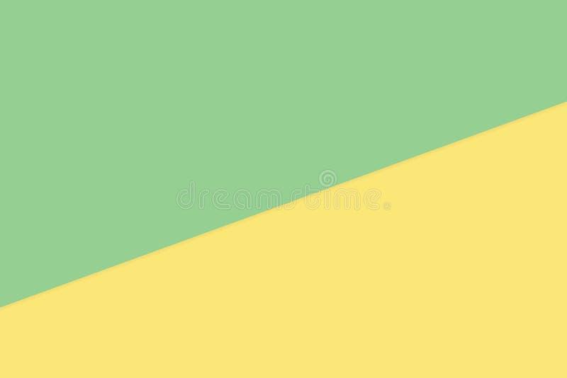 El fondo en colores pastel de papel suave bicolor amarillo verde, plano mínimo pone el estilo para la opinión superior de moda de ilustración del vector