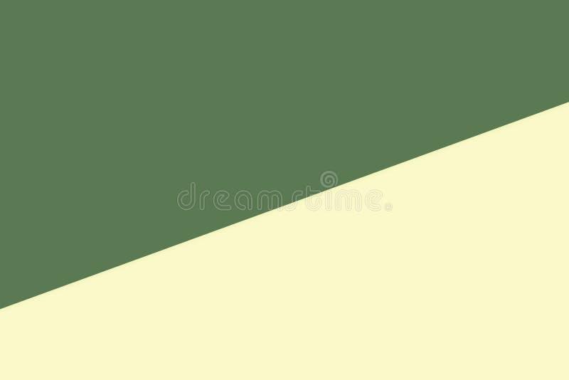 El fondo en colores pastel de papel suave bicolor amarillo verde, plano mínimo pone el estilo para la opinión superior de moda de libre illustration