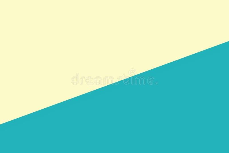 El fondo en colores pastel de papel suave bicolor del verde amarillo, plano mínimo pone el estilo para la opinión superior de mod ilustración del vector