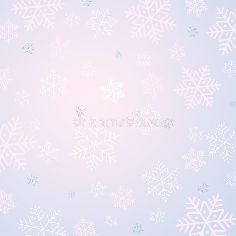El fondo escarchado del invierno con los copos de nieve modela para las invitaciones de las tarjetas de felicitación de los carte stock de ilustración
