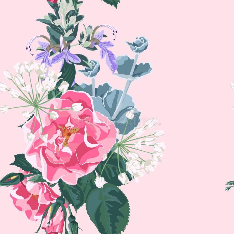 El fondo floral de moda con salvaje subió, las flores de la rosaleda del perro del canina de Rosa Estilo dibujado mano en el cont stock de ilustración