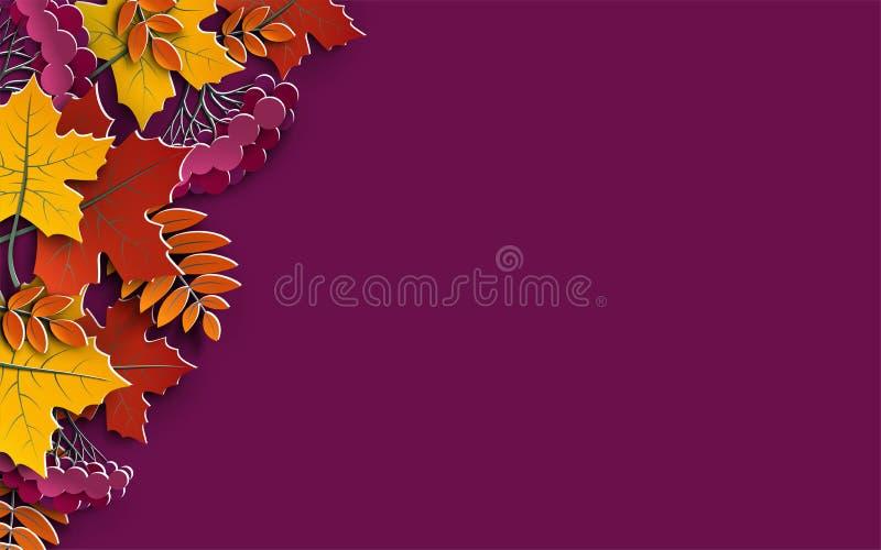 El fondo floral del otoño con las siluetas coloridas del árbol se va en el fondo amarillo, elementos del diseño para la bandera d ilustración del vector