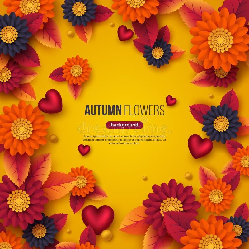 El fondo floral del otoño con el papel 3d cortó las flores del estilo, las hojas y los corazones decorativos Colores amarillos, a ilustración del vector