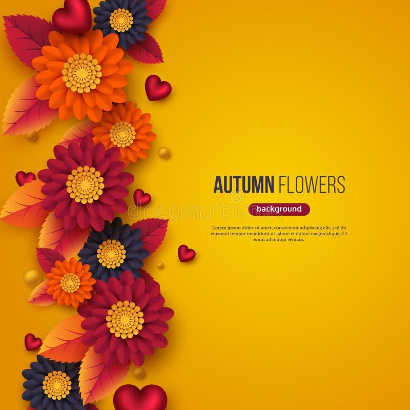 El fondo floral del otoño con el papel 3d cortó las flores del estilo, las hojas y los corazones decorativos Colores amarillos, a stock de ilustración