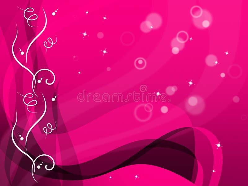 El fondo floral rosado muestra el estampado de plores y burbujas libre illustration