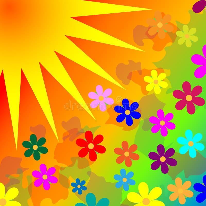 El fondo florece el sol stock de ilustración