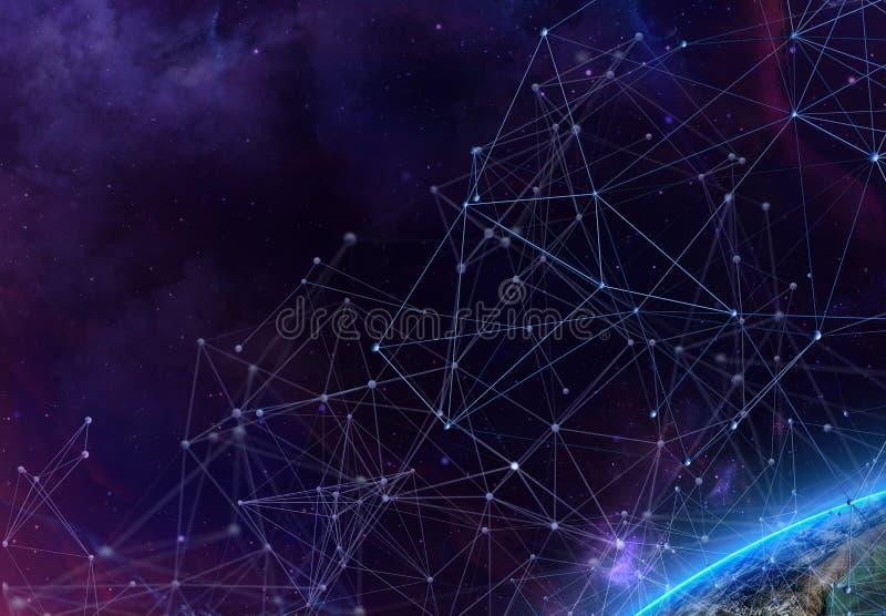 El fondo futurista abstracto con el plexo poligonal forma puntos y líneas compuesto en el cielo o el espacio estrellado ilustraci libre illustration