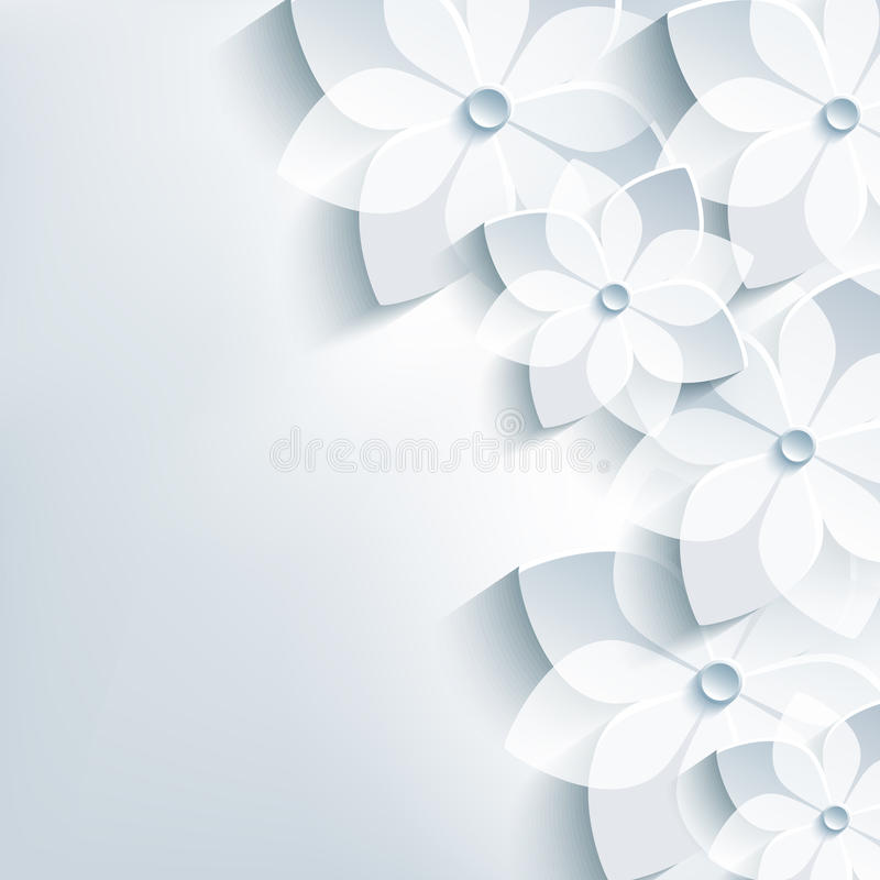 El fondo gris de moda con 3d florece Sakura ilustración del vector